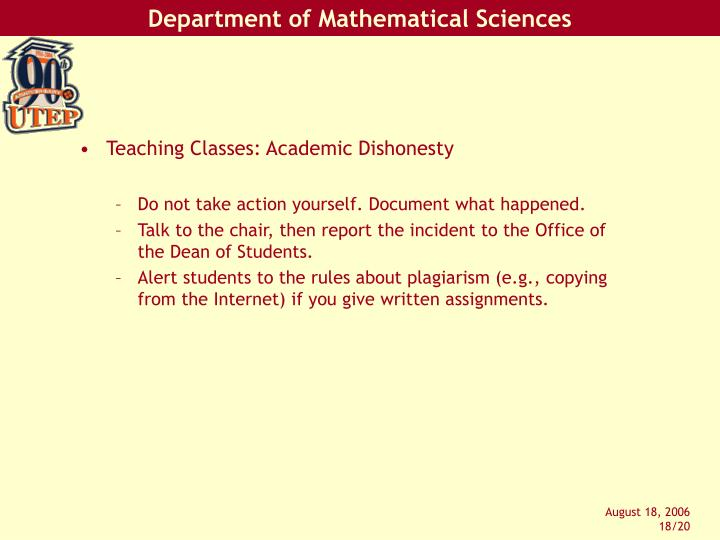 Teaching Classes: Academic Dishonesty