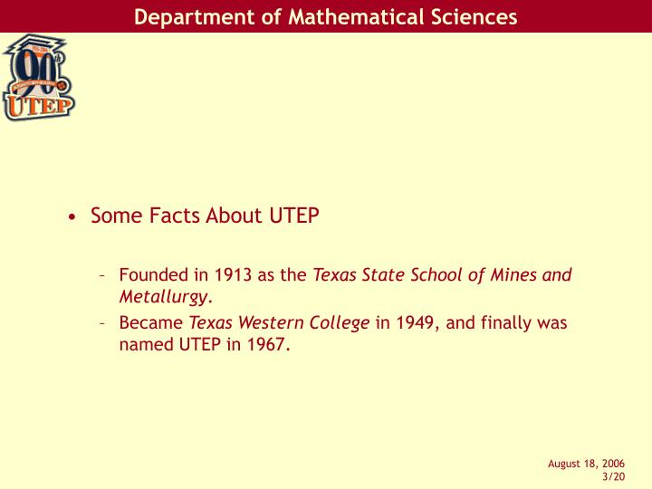 Some Facts About UTEP