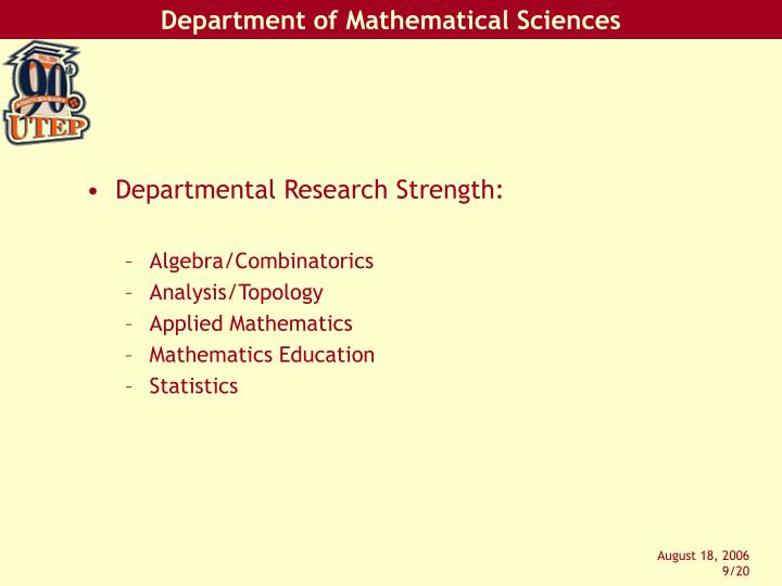 Departmental Research Strength: