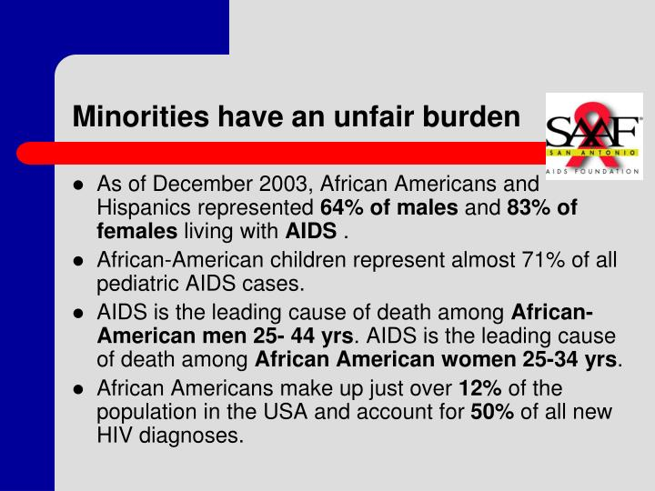 Minorities have an unfair burden