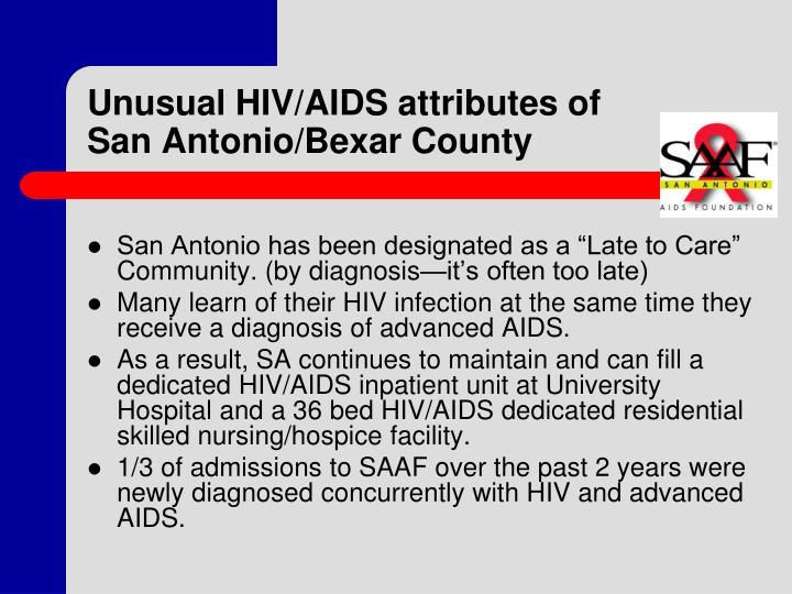 Unusual HIV/AIDS attributes of San Antonio/Bexar County