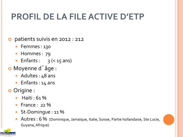 PROFIL DE LA FILE ACTIVE D'ETP