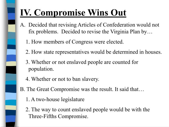 IV. Compromise Wins Out