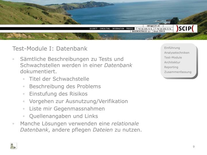 Test-Module I: Datenbank