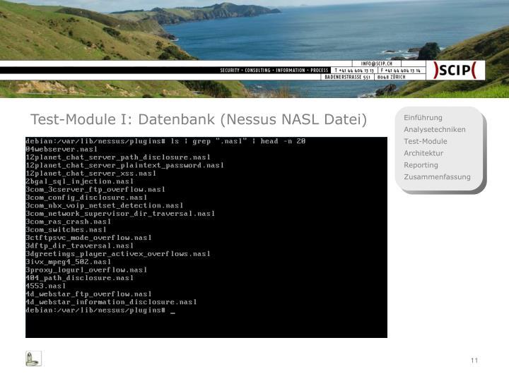Test-Module I: Datenbank (Nessus NASL Datei)
