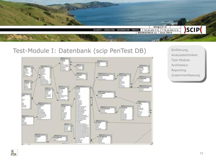Test-Module I: Datenbank (scip PenTest DB)