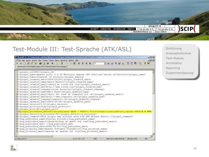 Test-Module III: Test-Sprache (ATK/ASL)