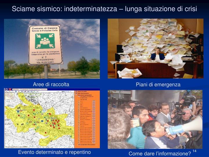 Sciame sismico: indeterminatezza – lunga situazione di crisi