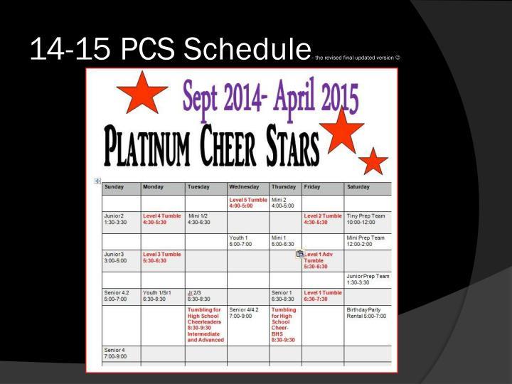 14-15 PCS Schedule
