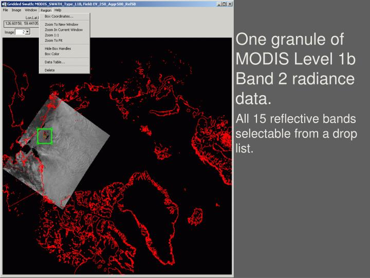 One granule of MODIS Level 1b Band 2 radiance data.