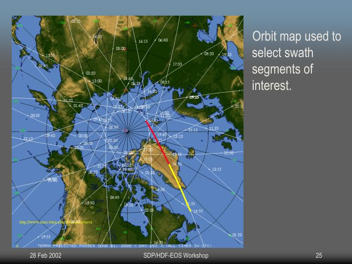 Orbit map used to select swath segments of interest.