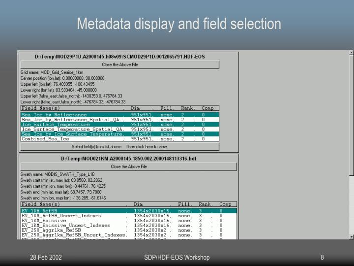 Metadata display and field selection