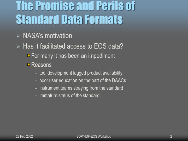 The Promise and Perils of Standard Data Formats