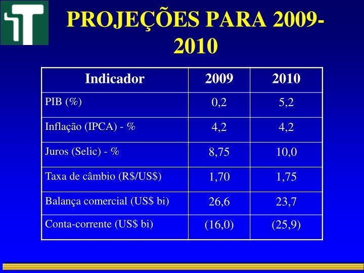 PROJEÇÕES PARA 2009-2010