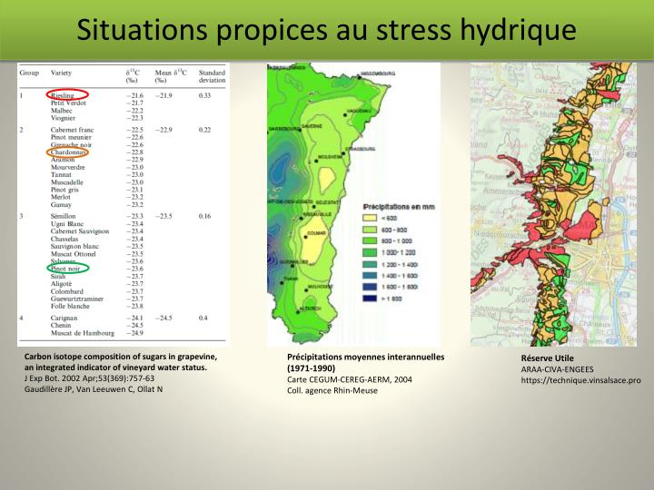 Situations propices au stress hydrique