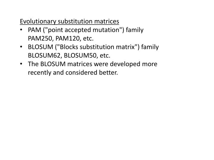 Evolutionary substitution matrices