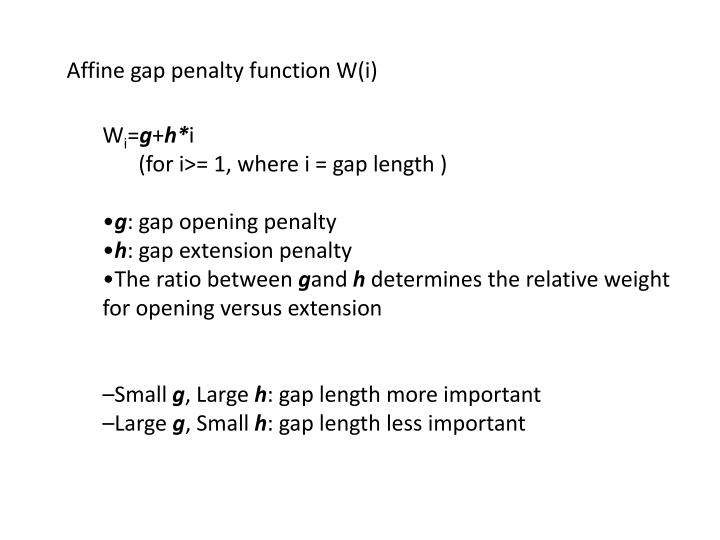 Affine gap penalty function W(