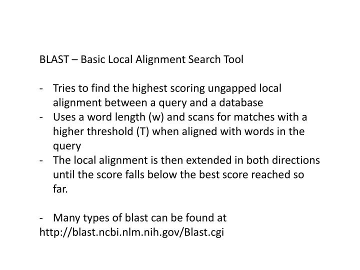 BLAST – Basic Local Alignment Search Tool