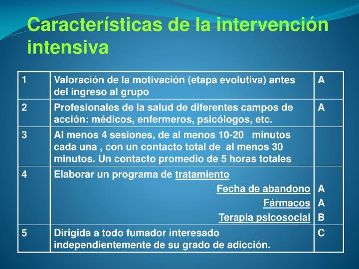 Características de la intervención intensiva