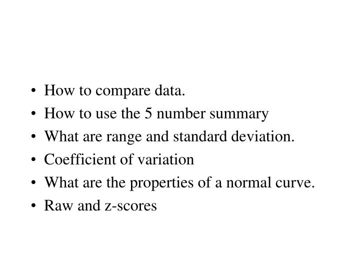 How to compare data.