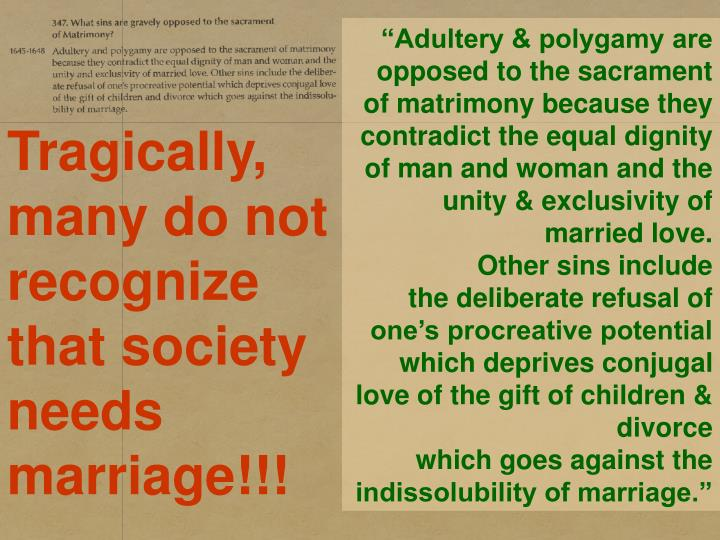 """Adultery & polygamy are opposed to the sacrament of matrimony because they contradict the equal dignity of man and woman and the unity & exclusivity of married love."