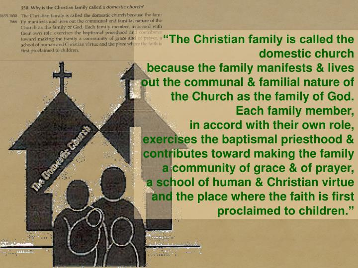 """The Christian family is called the domestic church"