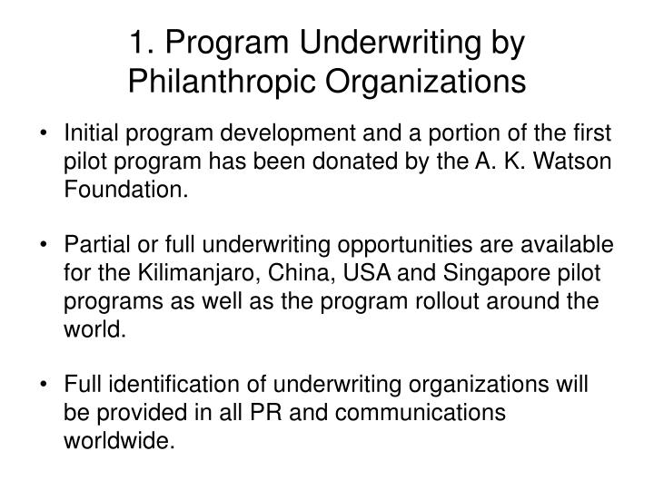 1. Program Underwriting by
