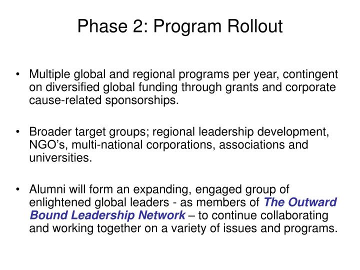 Phase 2: Program Rollout