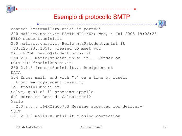 Esempio di protocollo SMTP