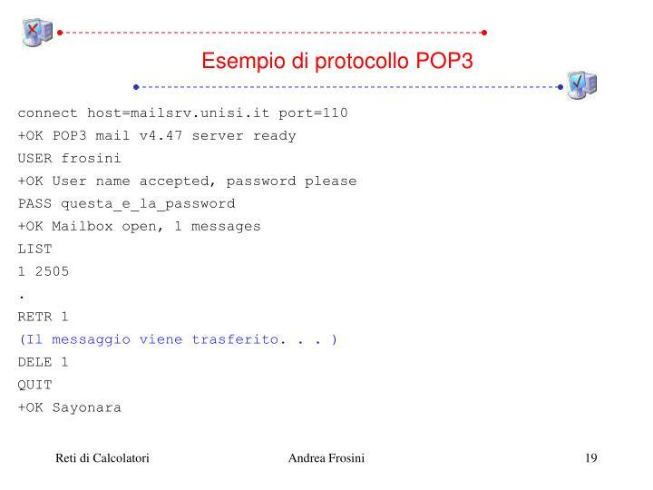 Esempio di protocollo POP3