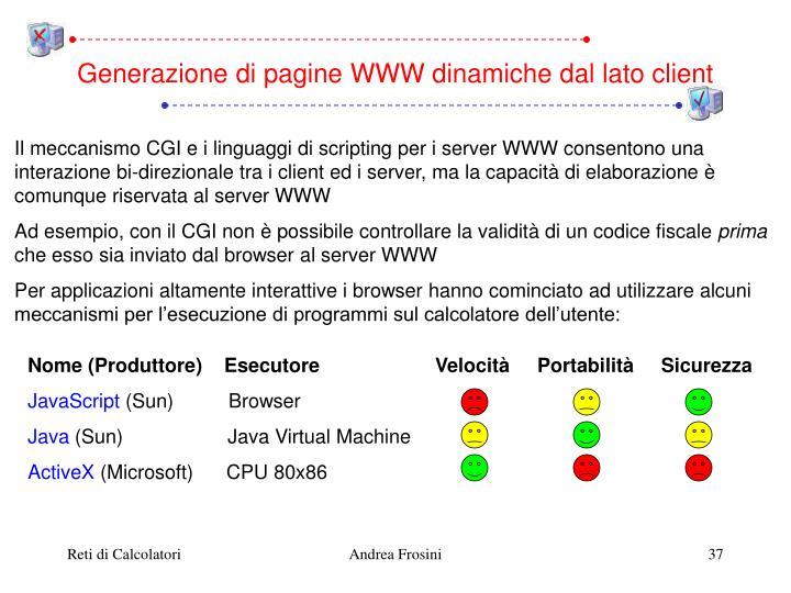 Generazione di pagine WWW dinamiche dal lato client