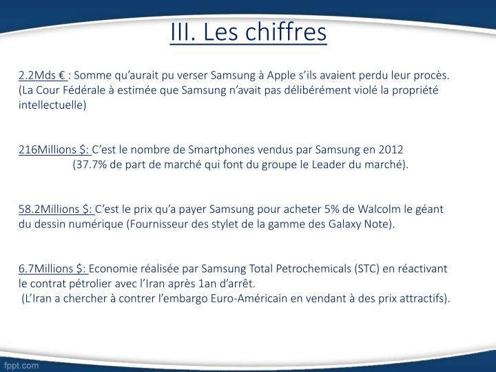 III. Les chiffres