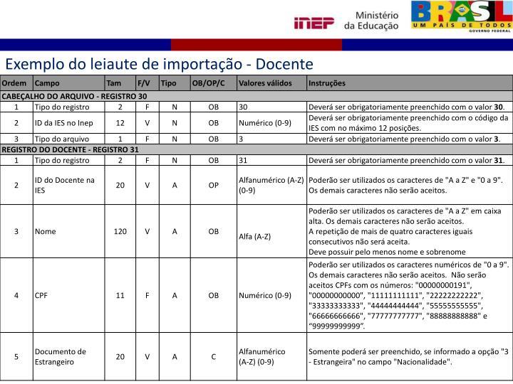 Exemplo do leiaute de importação - Docente