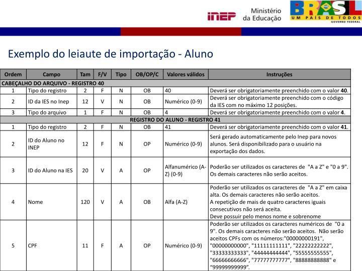 Exemplo do leiaute de importação - Aluno