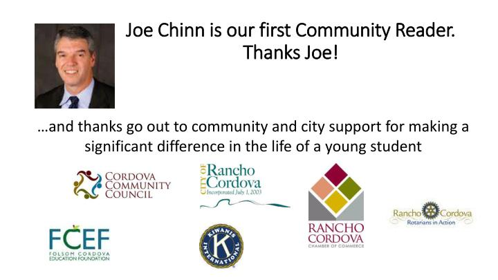 Joe Chinn is our first Community Reader.