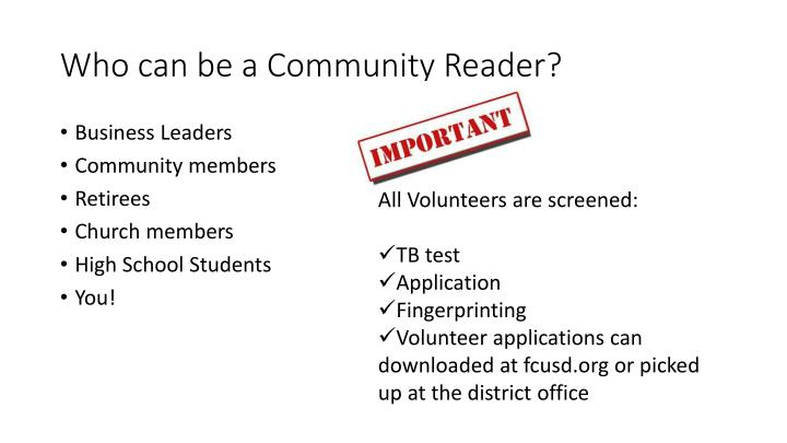 Who can be a Community Reader?