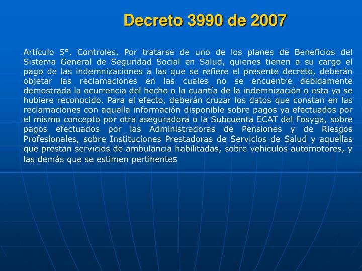 Decreto 3990 de 2007