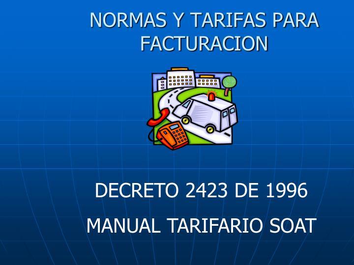 NORMAS Y TARIFAS PARA FACTURACION