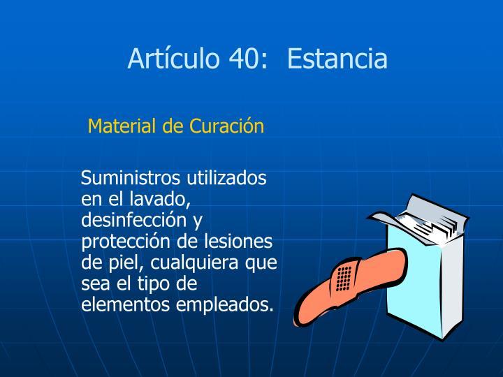 Artículo 40:  Estancia