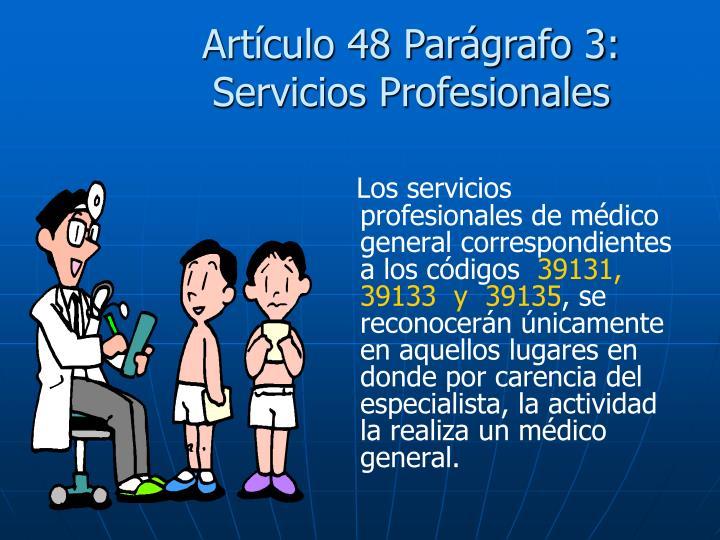 Artículo 48 Parágrafo 3: Servicios Profesionales