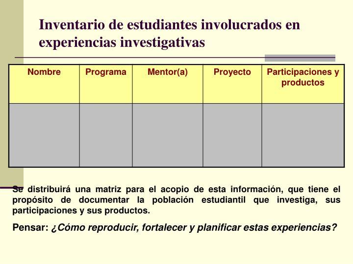 Inventario de estudiantes involucrados en experiencias investigativas