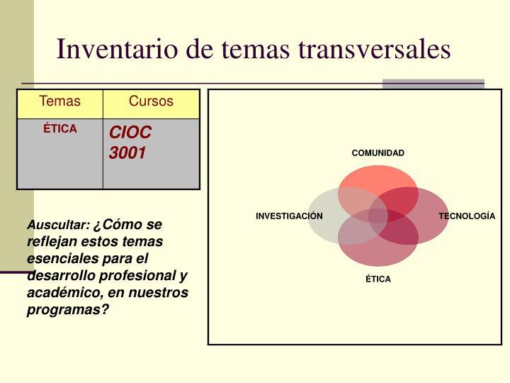 Inventario de temas transversales