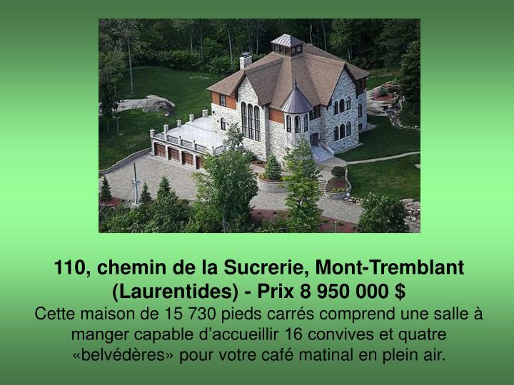 110, chemin de la Sucrerie, Mont-Tremblant (Laurentides) - Prix 8 950 000 $