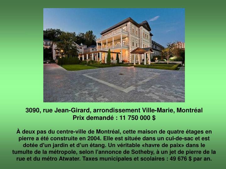 3090, rue Jean-Girard, arrondissement Ville-Marie, Montréal