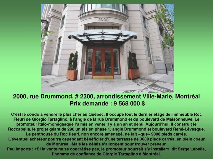 2000, rue Drummond, # 2300, arrondissement Ville-Marie, Montréal
