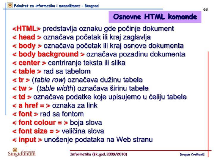 Osnovne HTML komande