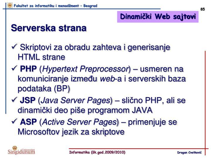 Dinamički Web sajtovi