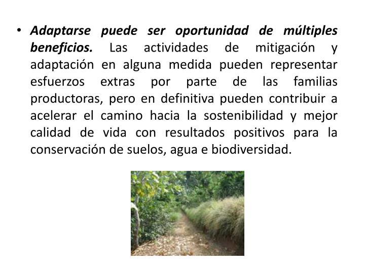 Adaptarse puede ser oportunidad de múltiples beneficios.
