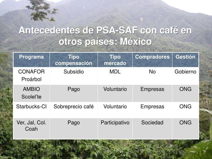 Antecedentes de PSA-SAF con café en otros países: México