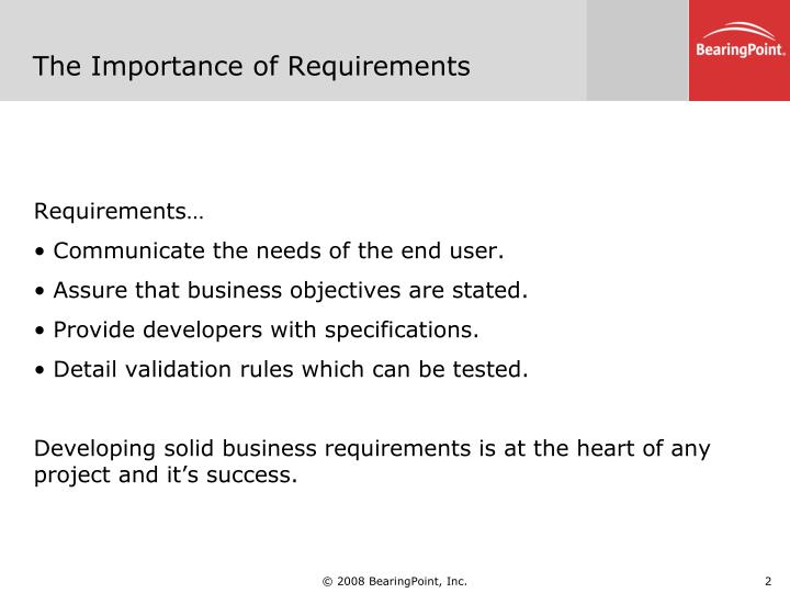 The importance of requirements